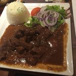 Carne ao molho de especiarias, trocamos a batata frita por arroz, delicia!