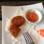 fish cakes and puffed rice