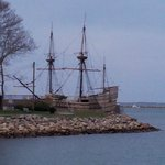 After leaving Brewster park right across the street is the ocean, Plymouth Rock & Mayflower II!