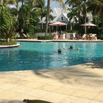 visitor at pool area