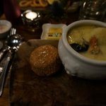 seafood chowder and brown bread scone
