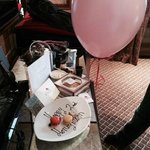 Card, Balloon and Sweets from the staff