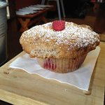 HUGE and amazing raspberry & white chocolate muffin