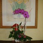 Hotel lobby lovely fresh flowers.