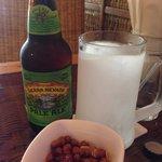 Frozen mug, peanuts and great beer selection.
