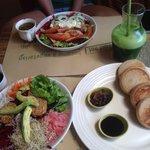 Dragon Bowl, Green Earth Salad, Buckwheat Pancakes and the Ultimate Green Juice