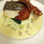 Grilled Cornish Hake with a Cockle cream sauce