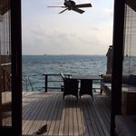 View from inside our water villa to the horizon beyond