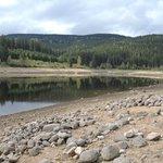 Die Nordwest Ecke des Sees mit freigelegten Steinen