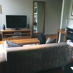 Downstairs sofa and TV