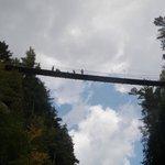 Walking Across The Suspended Bridge