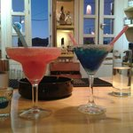 having a coctail