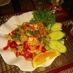 Yum Ma Ma - glass noodles, tiger shrimp, coriander, onion and green chili. Fantastic.