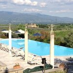 view of Villa La Palagina pool & surrounding hills