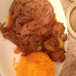Shredded sauteed beef with tasty plaintains and saffron rice