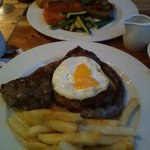 Mixed grill in front and Zanzibar steak at the back