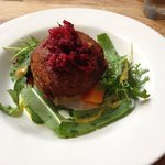 Smoked and cured fishcake with beetroot and horseradish dressing