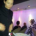 preparing an amuse buche at the table