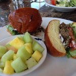 grilled lamb sandwich with fresh fruit