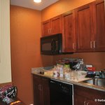 Kitchen area  - full size frig, stove, microwave, sink, dishwasher. Dishes, pots & pans, silverw