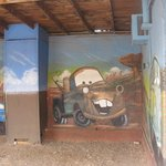 One of many wonderful murals on the motel grounds