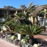 beach entrance to hotel