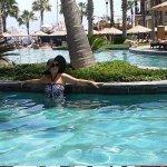 Girlfriend at pool side.
