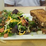 Grilled veggi sandwich with salad