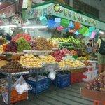 fruit and veggie market just outside hotel