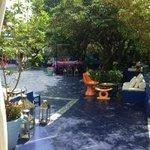 Area da piscina e restaurantes