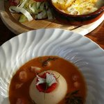 Scallop flan and bisque