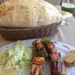 fish kebab and beautiful bread