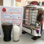 Oreo Malt (centre), table-top jukebox