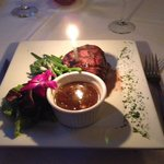 My steak dinner with birthday candle!