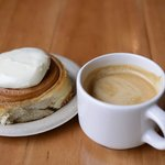 Flat White and Cinnamon Roll