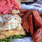 grilled grouper sandwich and sweet potato fries