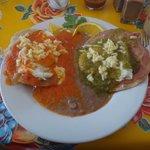 Huevos divorciados -- red and green sauces, divided :)