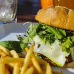 Burger with Ramp chimichurri, Mushroom, and Swiss