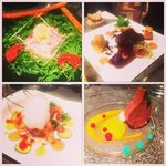 From top left to bottom right: Beef carpaccio, beef steak, gambas, chocolate mousse