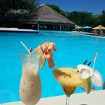 Pina Colada & Passionfruit Daiquri by the pool