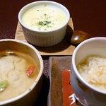 (写真左から)とってもおいしかったごま豆腐、山芋のグラタン、道明寺。