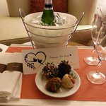 Complimentary chocolate covered strawberries and champagne