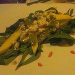 rocket salad with feta cheese mango and jalapeno dressing