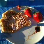 Waffles and strawberries for Breakfast