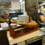 Iberico Ham, observe the high octane in the small kitchen.