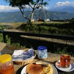 Breakfast with w view on top of the Siddhatha Garden roof.