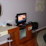 Small LCD TV & empty mini bar
