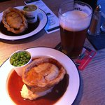 Lamb & mint pie with minted peas, honey and dijon mustard mash, red wine gravy and IPA beer
