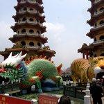 close-up to entrance of pagodas