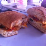 Breakfast sando on homemade bread $3
